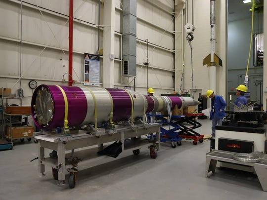 The Advanced Supersonic Parachute Inflation Research Experiment (ASPIRE) 2 payload undergoes testing in the sounding rocket payload facility at NASA's Wallops Flight Facility, prior to transport to the launch pad on Wallops Island.