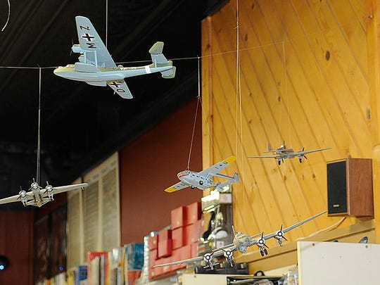Airplane models at JadeCo Stamp & Hobby in Stevens Point.