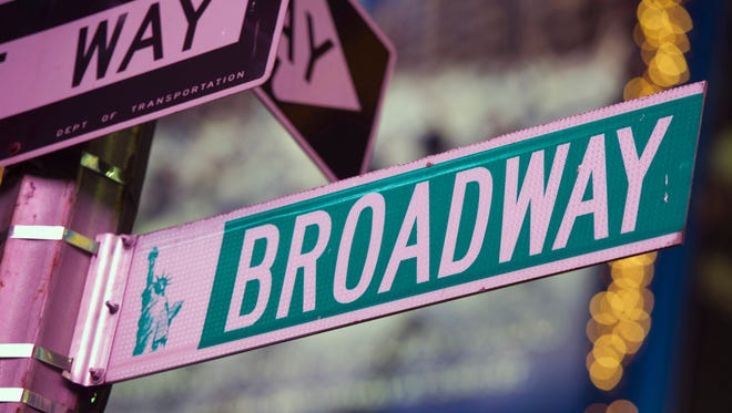 A Broadway street sign is seen in Times Square in New York.