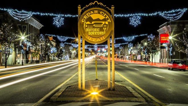 Cars pass through downtown Cedar City on Dec. 6, 2015.