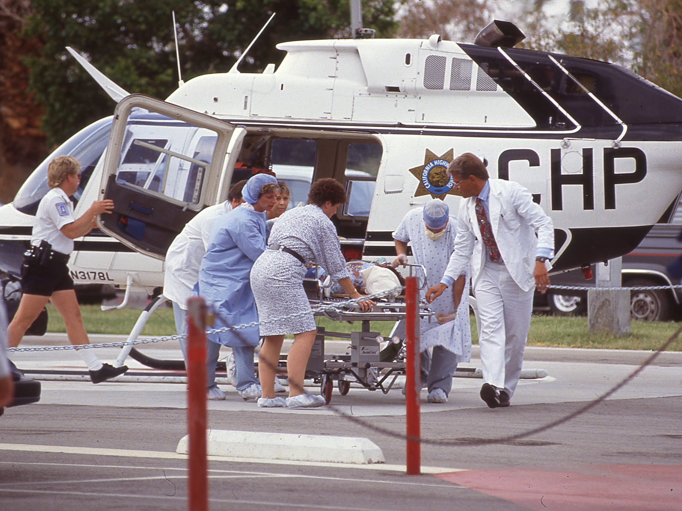 An injured Girl Scout arrives via CHP helicopter at