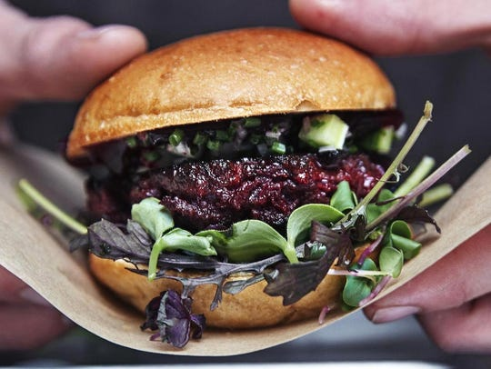 Bug Burger patties are made of beetroot, parsnips,