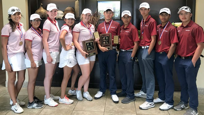 The District 3-5A Golf Champions are, standing from left, Mona Magana, Dasia Jaramillo, Dezi Stockton, Jayden Galindo, Presley Jackson, Nemo Perales, Johnny Contreras, Chip Rogers, Jordan Caballero and Jerry Cochran.