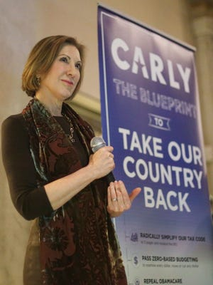 Republican presidential candidate Carly Fiorina spoke to a gathering of supporters at a gallery on Wednesday, Jan. 27, 2016, in Des Moines.
