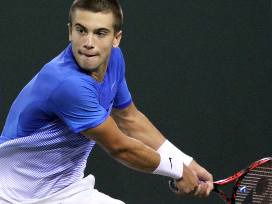 Borna Coric  eyes the ball during his match against