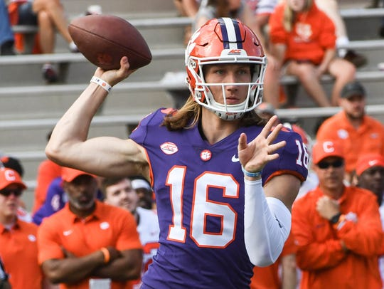 Clemson quarterback Trevor Lawrence (16) during the