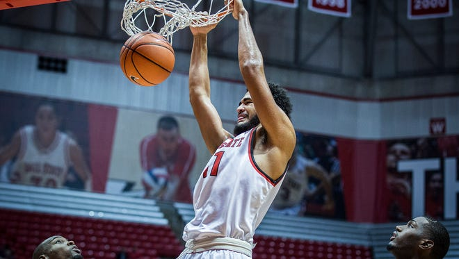 Ball State's Trey Moses dunks on New Orleans' defense during their game at Worthen Arena Saturday, Dec. 5, 2015. Ball State defeated New Orleans 66-52.