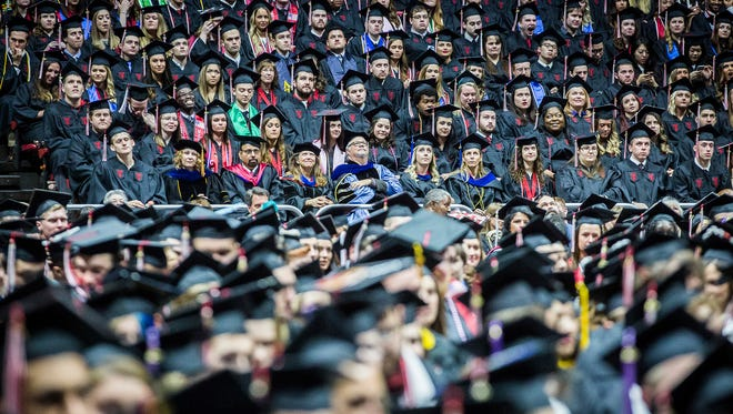 Graduating students attend Ball State's May 2017 commencement ceremony.