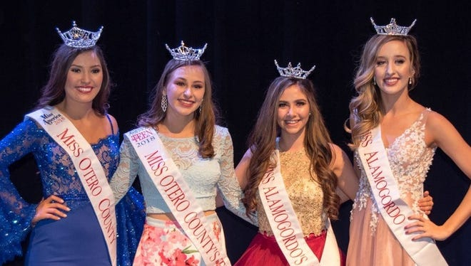 The Sertoma Scholarship Pageant winners are from left to right Miss Otero County Misa Tran, Miss Otero County Teen Breanna Todd, Miss Alamogordo Teen Dallas Collins and Miss Alamogordo Casen Collins.