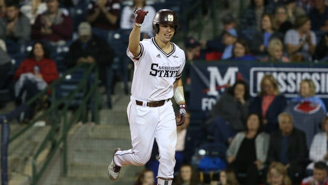 Marshall Gilbert celebrates after a play in a recent Mississippi State game.
