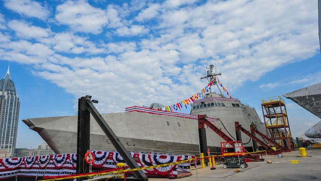 The littoral combat ship Pre-Commissioning Unit  Jackson  during its christening ceremony at Austal USA shipyard in Mobile, Ala. (U.S, Navy photo courtesy of Austal U.S.A./Released)
