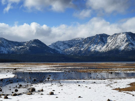 The Lake Tahoe shoreline is seen at Thomas F. Regan Memorial City Beach at South Lake Tahoe on Dec. 16, 2014.