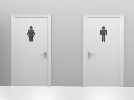Women and men bathroom signs - Restroom Doors To Public Toilets With Men And Women Icons Photo