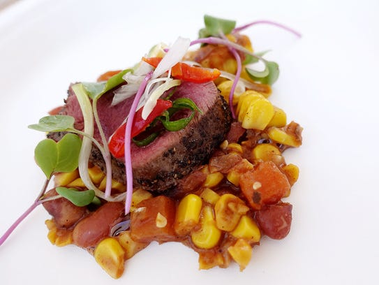 Sumac-crusted venison loin with native steamed corn
