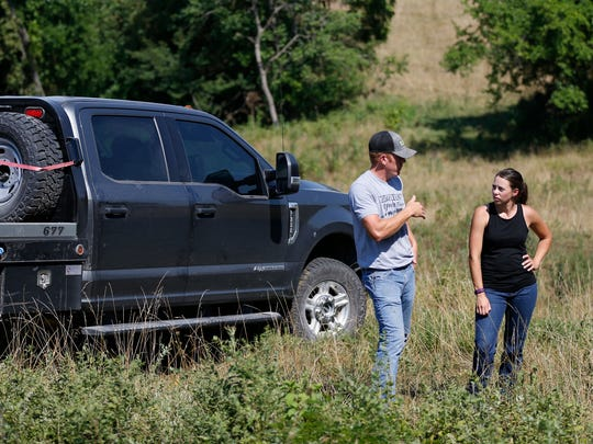 Billy and Kalena Bruce talk about their farm in rural Cedar County and the impact tariffs will have on the farming industry on Friday, July 13, 2018.