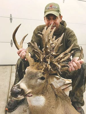 Brian Butcher harvested a whitetail buck in Chase County last October that was recently certified by Boone and Crockett Club as ranking fourth in the world for non-typical whitetail deer. The deer earned a net score of 321 and 3/8 inches.