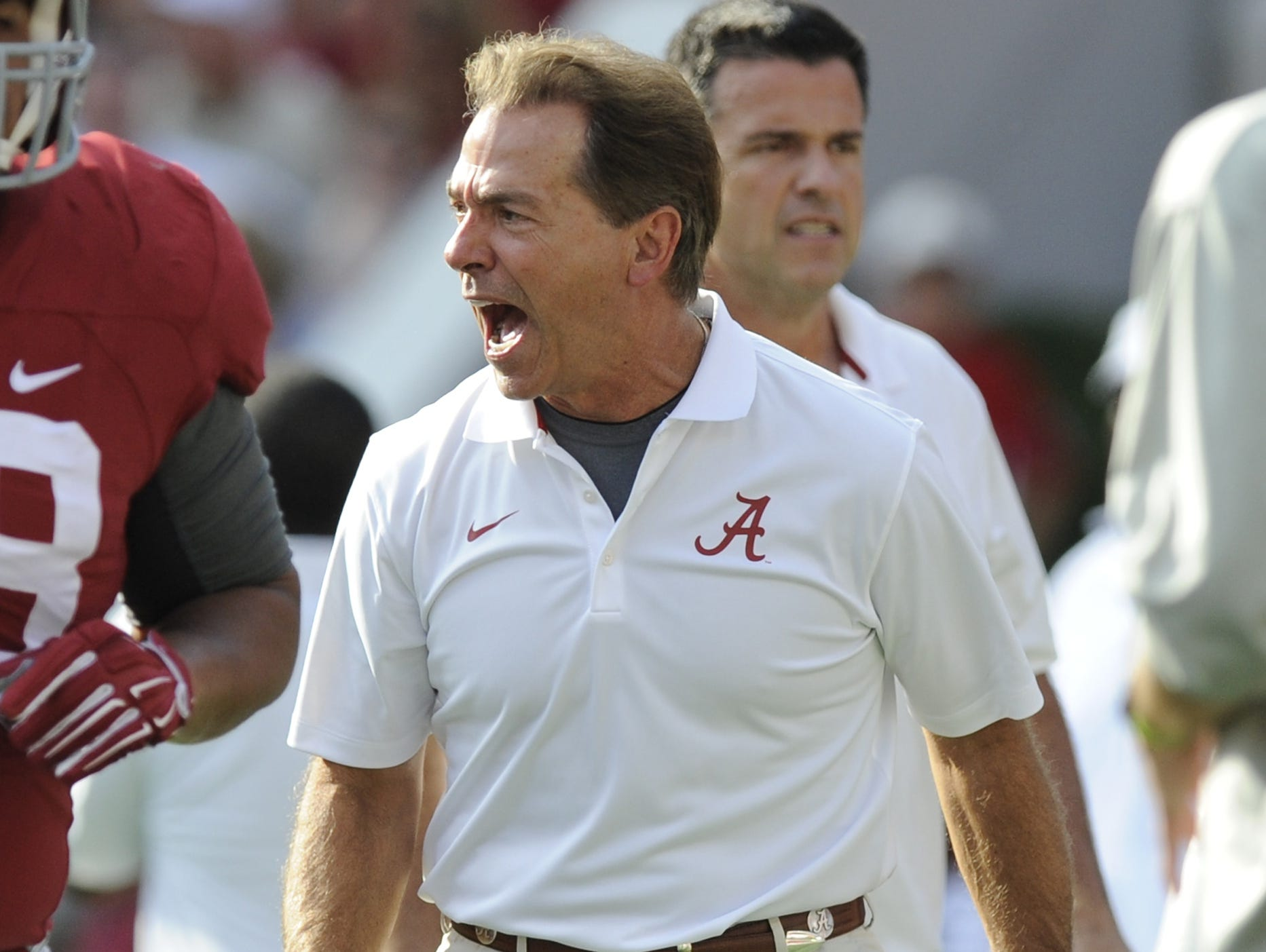 Nick Saban talks about Gov. Robert Bentley decision to remove Confederate flags last month.