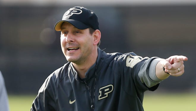 New quarterbacks coach Tim Lester during spring football practice Tuesday, March 8, 2016, at Purdue University.