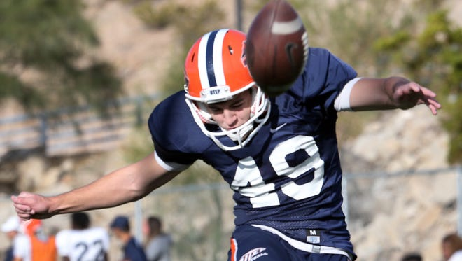UTEP placekicker Jason Filley is shown at practice last year at Glory Field. He has upped his game this year in the face of competition.