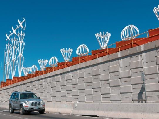 """The """"Airway"""" sculpture spins in the wind and lights"""