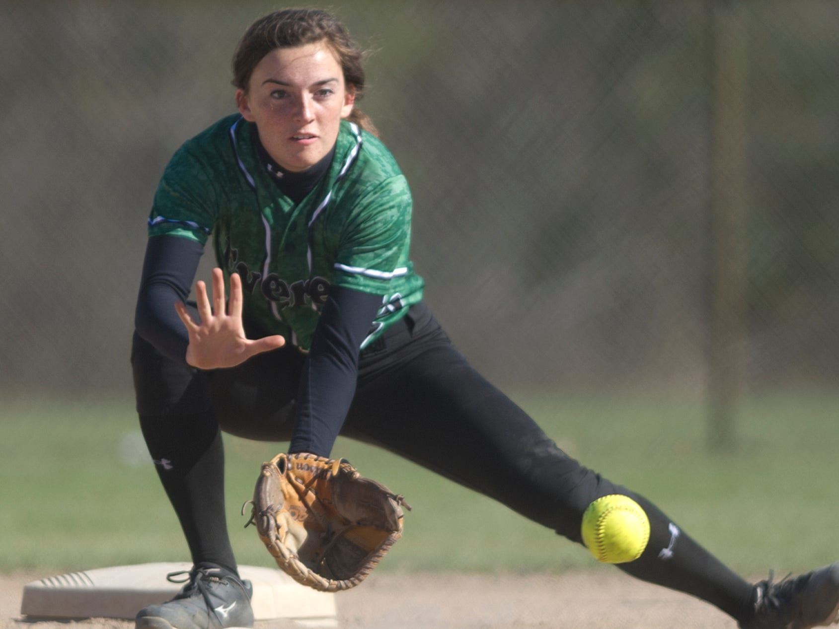 D.C. Everest's Ally Dzurka fields a ball during a Wisconsin Valley Conference softball game Thursday against Wisconsin Rapids at Lincoln High School in Wisconsin Rapids.
