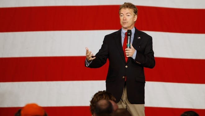 Republican presidential candidate Rand Paul speaks Saturday, Oct. 31, 2015, during the Growth and Opportunity Party at the Iowa State Fairgrounds in Des Moines.