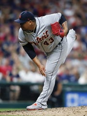 Bruce Rondon pitches during the eighth inning of the Tigers' 4-0 loss July 8, 2017 in Cleveland.