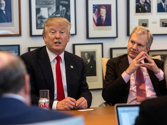 "President Donald Trump and ""New York Times"" publisher Arthur Sulzberger Jr. during a meeting with editors and reporters at The New York Times building on Nov. 22, 2016. Trump met again with Sulzberger to discuss why he calls the press ""the enemy of the people."""