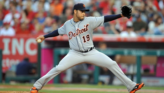 Detroit Tigers starting pitcher Anibal Sanchez (19) pitches the second inning against the Los Angeles Angels at Angel Stadium of Anaheim.