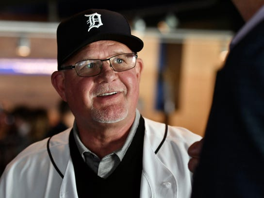 Detroit Tigers baseball team's new manager Ron Gardenhire wears a Tigers hat after an introductory press conference at Comerica Park in Detroit, Friday, Oct. 20, 2017. (Robin Buckson/Detroit News via AP)