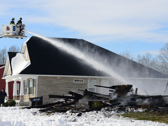 A fire destroyed a home on Preserve Drive in Lewes on Monday, Jan. 8, 2018.