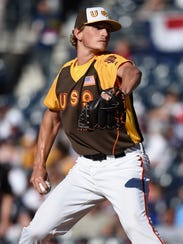 Pitcher Phil Bickford was acquired by the Brewers in