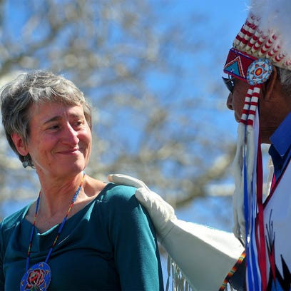 Chief Earl Old Person honors Interior Secretary Sally