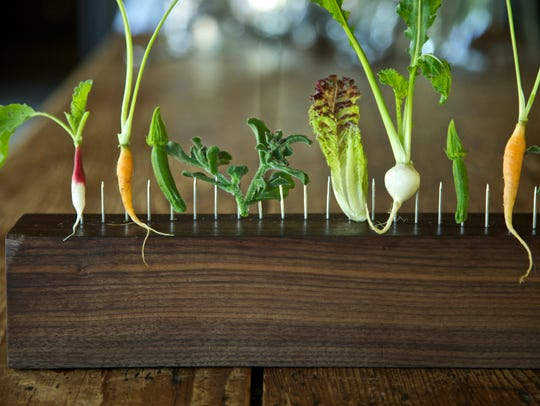 Vegetables on a Fence at Blue Hill at Stone Barns,