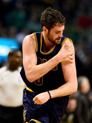 Cleveland Cavaliers forward Kevin Love (0) had shoulder surgery and is out four to six months.