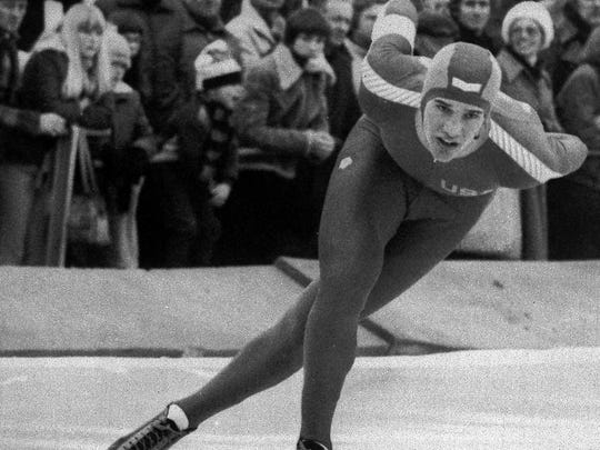 Speedskater Eric Heiden is shown in action during the 5000 meter race in the World Cup Speedskating tournament, Feb. 25, 1979 in Alkmaar, the Netherlands.