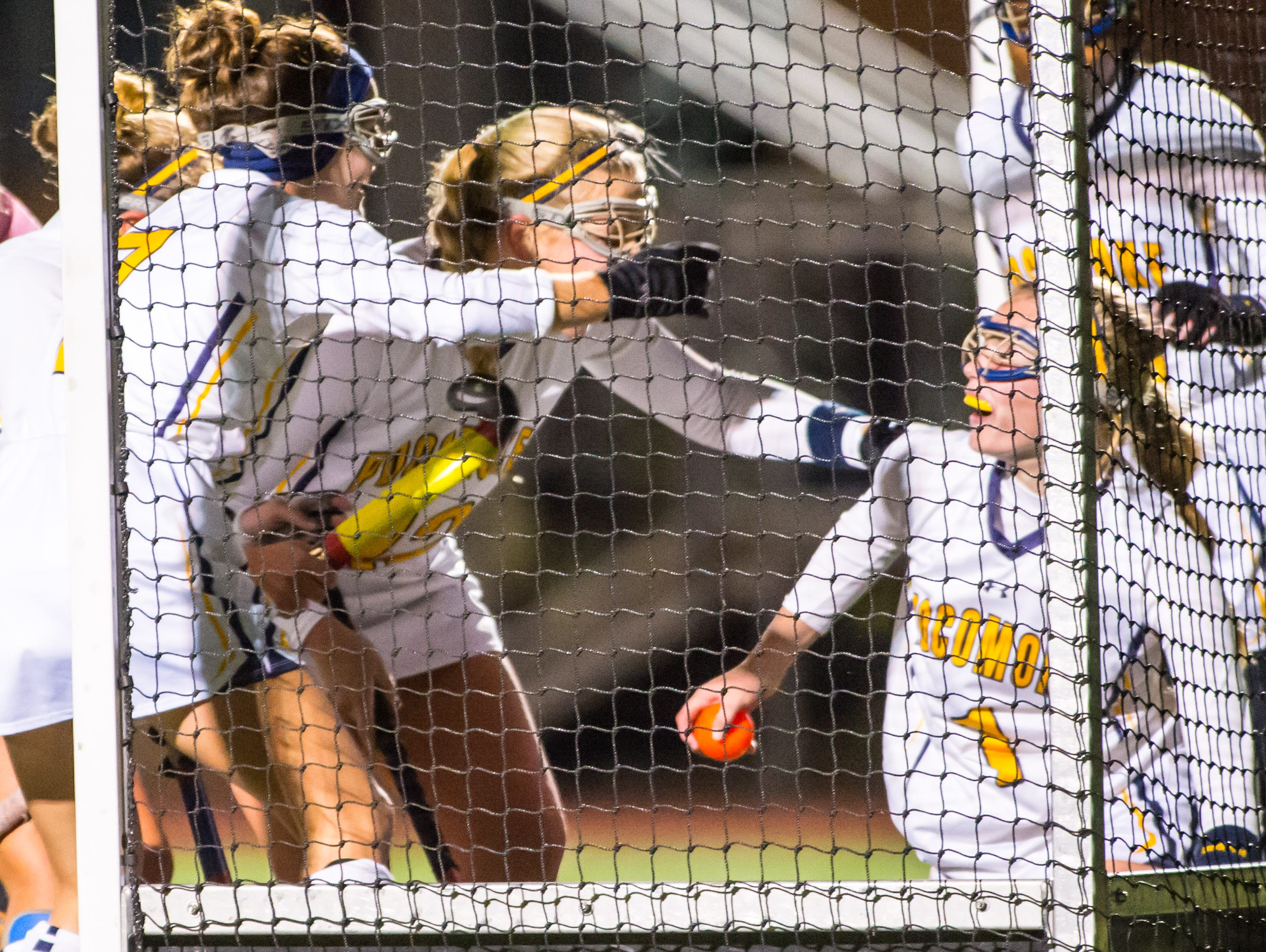 Pocomoke celebrates a goal by Mckenzie Beauchamp (1) against Patuxent in the MPSSSAA 1A State Finals on Saturday evening at Washington College in Chestertown.