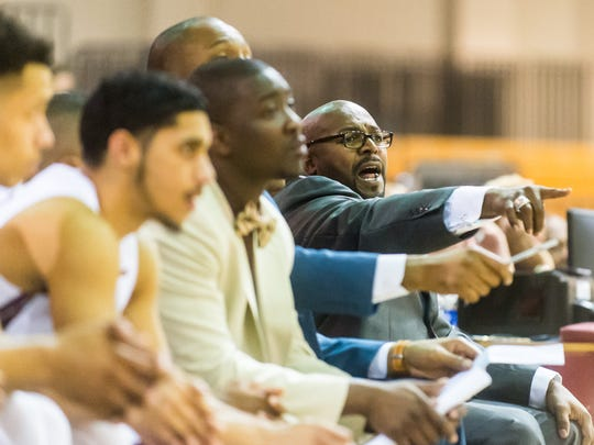 UMES head coach Bobby Collins works his squad against