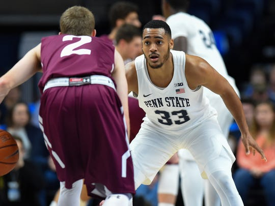Junior Shep Garner leads the way for the Nittany Lions.
