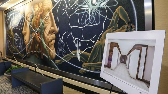 Renderings of the planned renovation to the building next to Rafael Navarro murals from 1967 in the north lobby of the Medical Park Tower.