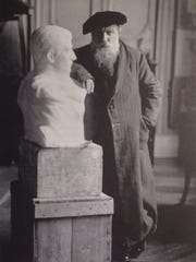 Auguste Rodin, in an undated photo with his bust sculpture of Napoleon, recently discovered to have resided for the past 85 years in the borough hall in Madison, New Jersey.
