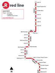 The planned station map for the Red Line.