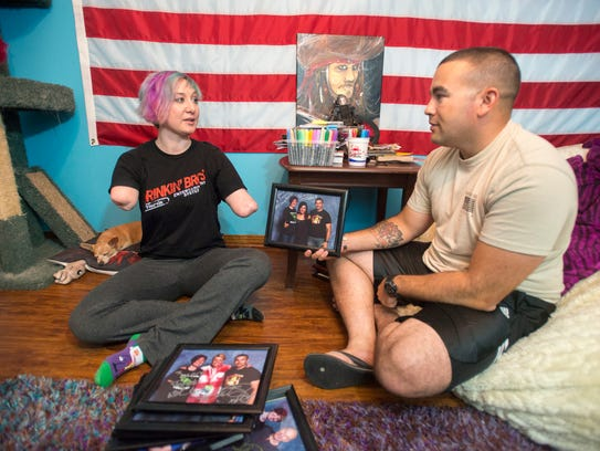 Army veteran Mary Dague, left, and her active duty