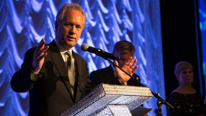 Mayor Greg Fischer speaks during the annual 2016 Fillies Derby Ball, April 16, 2016, at the Downtown Louisville Marriott.