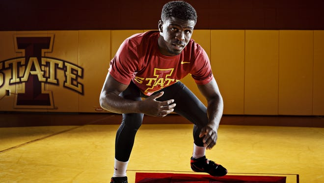 Iowa State University senior Earl Hall during the Wrestling media day on Tuesday, October 20, 2015.