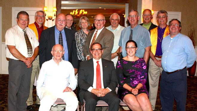 The following Hanover Lions Club officers and board members were recently installed for the 2016-2017 club year: Seated, from left: Vance Stabley, President Dwain Smith, Past President Judith Stewart; standing: Secretary Gerry DeGroft, Jack Stewart, Treasurer Bob Gotwalt, Don Dorr, Jacoba Anderson, 1st VP Ken Zinn, Truman Geiman, 2nd VP Todd Boller, John Zinn, Tom Staub and Brian Shea. Club Chaplain Fred Baber was missing from this photo.