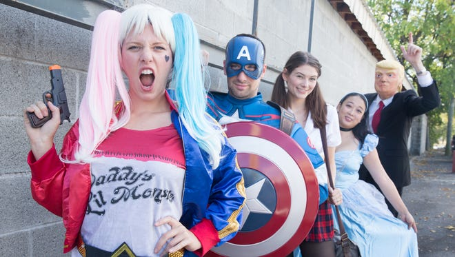 From left, Harley Quinn, Captain America, School Girl, Cinderella and Donald Trump  costumes from Performance Studios