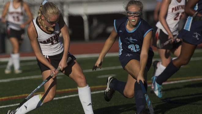 Central York's Kyra Heap shoots the ball. Central York defeats Dallastown 3-1 in field hockey at Central York High School, Monday, October 2, 2017.