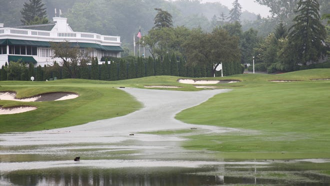 Fairways are flooded at Greenbrier this week.