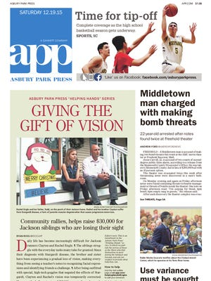 Asbury Park Press front page, Saturday, December 19, 2015